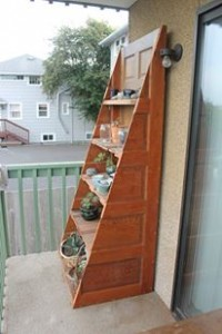 Recycled door bookshelf